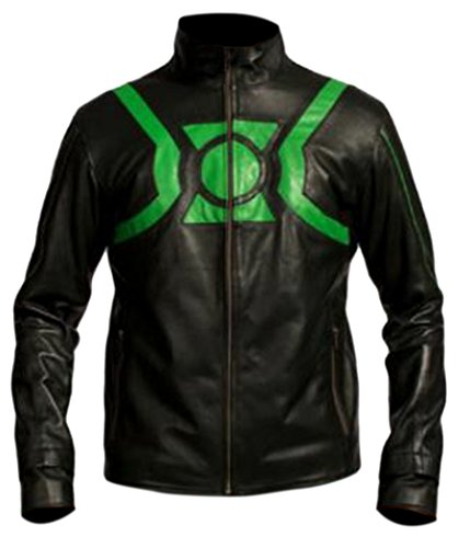 Flesh & Hide F&H Boy's Genuine Leather Hal Jordan Green Lantern Cafe Racer Jacket L Black by Flesh & Hide