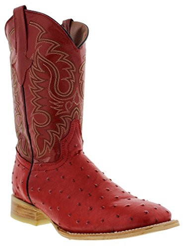 - Texas Legacy - Men's Red Ostrich Quill Design Leather Cowboy Boots Square Toe 11.5 D(M) US