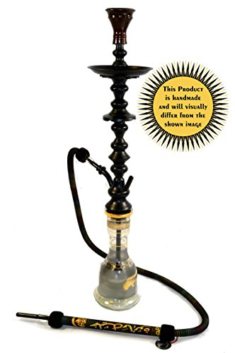 "KHALIL MAMOON Black Shareef 34"" Complete Hookah Set: Single Hose Shisha Pipe. Handmade Egyptian Narguile Pipes. These are Traditional Middle Grade Black Metal Hookahs."