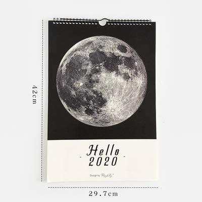 Tischkalender Kalendarien Jianwu Marble Planet Stil 2020 Kalender DIY Mond Wand-Kalender Tagesplan 2019 Planner Täglich Jahres Agenda Organizer (Color : Moon quanyue A3)