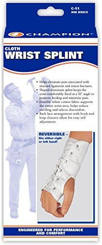 White Large CHAMPION Wrist Split Reversible Adjustable Lacing Cloth
