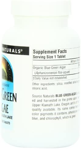 Source Naturals Blue-Green Algae 500 mg From Klamath Lake – 200 Tablets