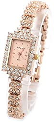 shot-in Brand New Lady Women Quartz Rhinestone Crystal Wrist Watch Square gold surface