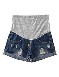 Zhhmeiruian Pantalones Cortos Shorts Maternidad Ripped Hole - Cómodo Elástico No Aprieta Reduce el Peso del Abdomen Pantalones Embarazados
