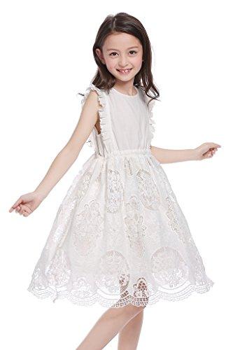 Girls White Eyelet Dress - CVERRE Vintage Eyelet Ruffle Flutter Sleeve White Lace Girl Dress 2-7 (100)