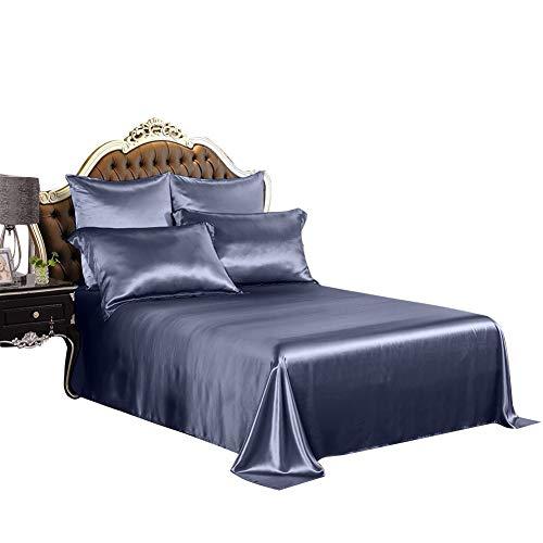 THXSILK Silk Sheet Set 4 Pcs, 19 Momme Silk Bed Sheets, Luxury Bedding Sets -Ultra Soft, Durable-100% Top Grade Mulberry Silk, King Size, Slate Blue