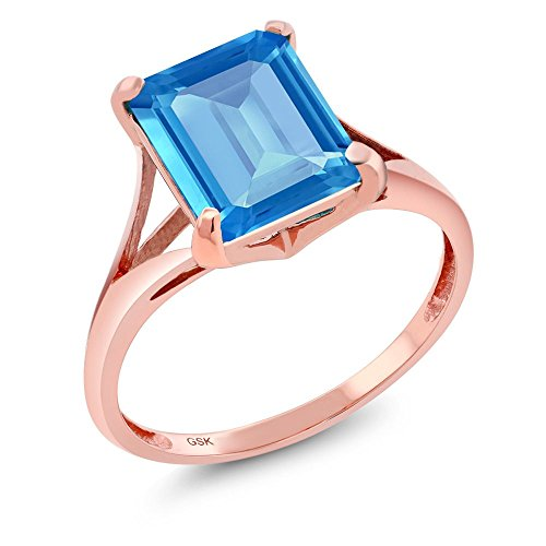 4.00 Ct Emerald Cut Swiss Blue Topaz 14K Rose Gold Women's Ring (Ring Size (Mystic Fire Topaz Emerald)