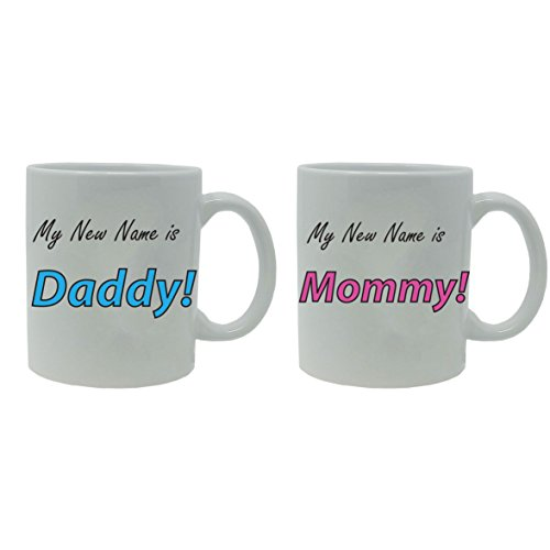 New Great Gifts - My New Name is Daddy! and Mommy! Ceramic Coffee Mug Set - Great Gift for Expecting Parents