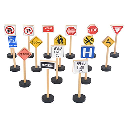 wonuu 15 Piece Wooden Street Signs Playset, Wood Traffic Signs Perfect for Car & Train Set Children's Educational -