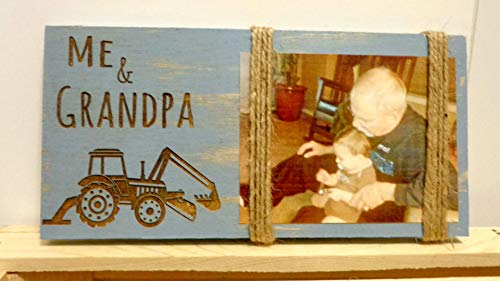Large Frame Tractor - Tractor Gift Farmhouse Decor Christmas Gift for Dad Gift for Grandpa Rustic Wood Picture Frame Personalized Handmade Rustic Decor Art Farm