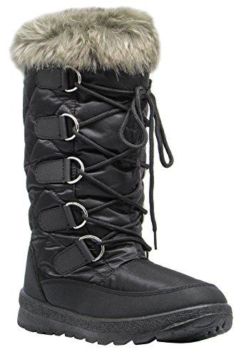 Pla Mujeres Winter Cold Weather Edredón SnowBotas Lace Up Zipper Forro Polar