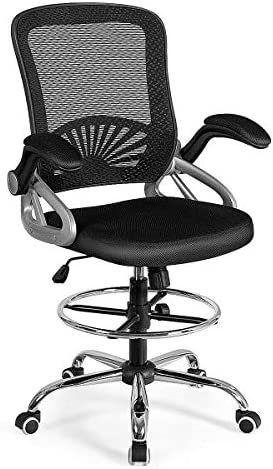 Giantex Mesh Drafting Chair Adjustable Height with Lumbar Support, Ergonomic Computer Chair w Flip Up Arms Footrest Ring, Padded Seat, Swivel Rolling Executive Chair