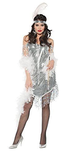 Women's Sequin Flapper Costume - Swingin Silver (2)
