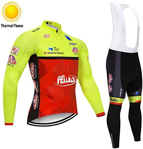 TOPBIKEB Mens Cycling Bib Pants and Jersey for Winter Long Sleeves Warm Thermal Fleece Cycling Clothing with Pockets and Reflective Bands for Night Cycling