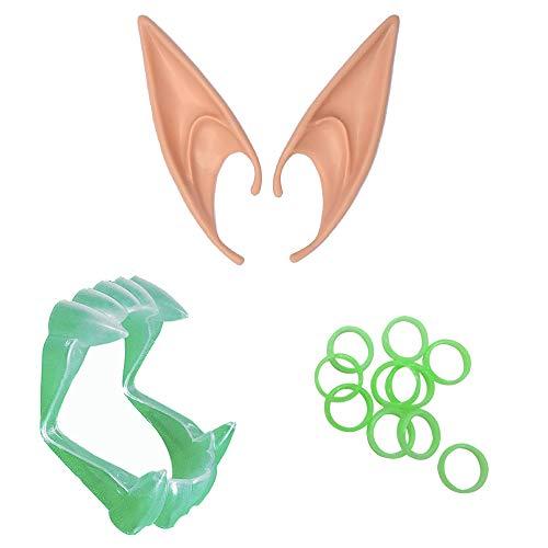 Plastic Halloween Picks,Cosplay Fairy Pixie Elf Ears with Glow-in-The-Dark Halloween Vampire Fangs -