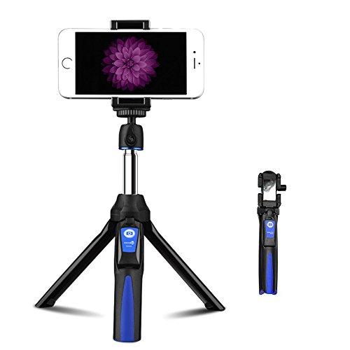 新型三脚自撮り棒 アルミニウム合金 伸縮*調整自在 360度回転 ブルートゥースリモコン ネジ式雲台 多機能リモコン付きセルカ棒 デジタル スマホ(iPhone、Android、Gopro、カメラなどに対応 ) (自撮り棒 三脚付き 日本語取扱書付き ブルー 青い )の商品画像