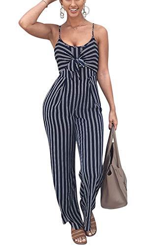 Petite Striped Romper - Women Striped Romper and Jumpsuit - Spaghetti Strap Long Wide Leg Pants Set Summer Playsuit XL