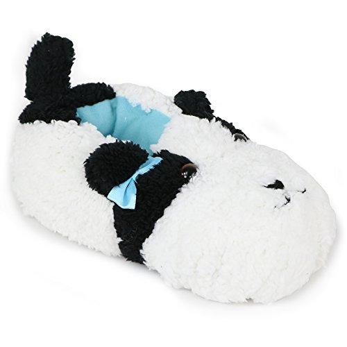 Chatties Girls Animal Sherpa Slippers (Little Kid/Big Kid) (2-3 M US Big Kid, Black/White Dog)