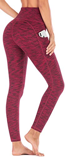 IUGA High Waist Yoga Pants with Pockets, Tummy Control, Workout Pants for Women 4 Way Stretch Yoga Leggings with Pockets (Space Dye Red, X-Large) (Best Woman's Body In The World)