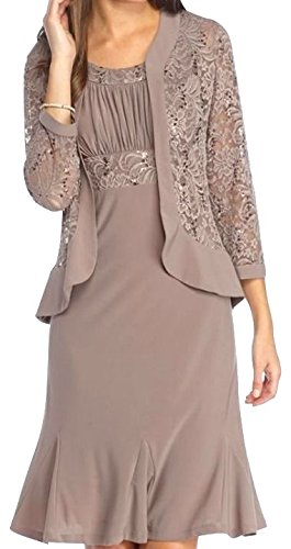 RM Richards Womens Ruffled Trim Lace Jacket Mother of the Bride Dress (6, MOCHA)