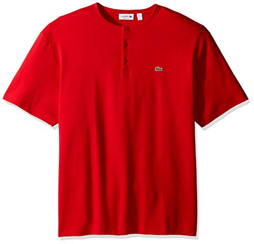 Lacoste Men's Double Face Cotton Henley T-Shirt, TH1892-51, Red, - Face Th