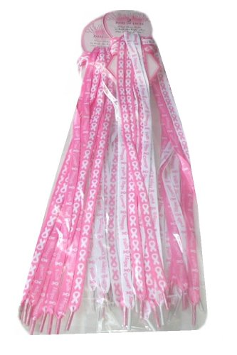 Pack Of 6 Pair - Pink Ribbon Shoe Laces - Breast Cancer Awareness - Fundraising]()