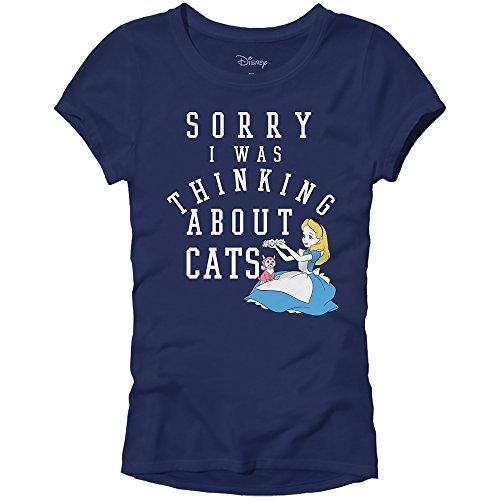 Disney Alice in Wonderland Juniors Thinking About Cats T-Shirt (XXL, Navy) -