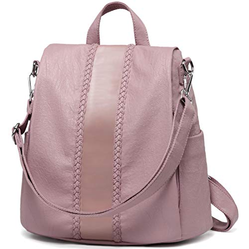 Backpack Purse for Women,VASCHY Fashion Faux Leather Anti-theft Backpack for Ladies with Vintage Weave (Pink)