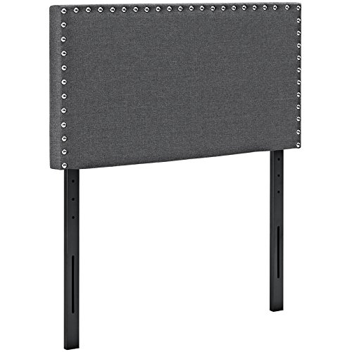 Modway Phoebe Fabric Upholstered Twin Size Headboard With Nailhead Trim in Gray by Modway