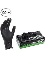 Guantes Desechables Latex 100pcs/Caja de Nitrilo Esteriles General Trabajo libres de polvo Negro S
