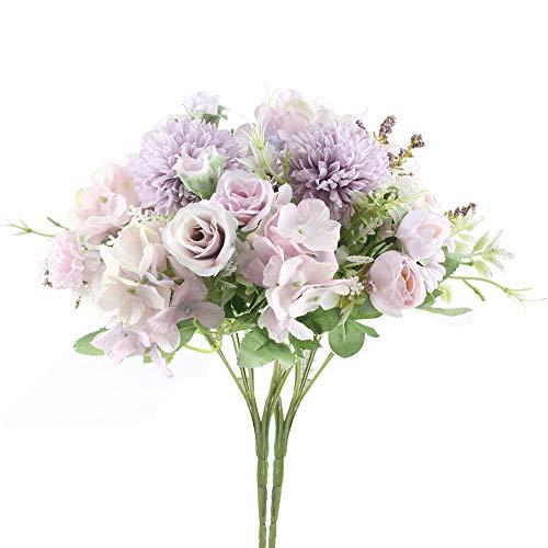 HUAESIN 2pcs Bridal Wedding Bouquet Artificial Peony Rose Mixed Silk Flowers Arrangement Home Wedding Centerpiece Decoration Handmade Vintage Rustic Style Purple