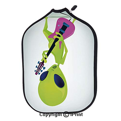 """Soft Neoprene Pickleball Paddle Cover Zipper Sleeve Protective Case,Cartoon Alien Character Playing Electric Guitar Music Monster Decorative(size:8.23"""" x 11.4"""")Apple Green Pink Navy Blue,Fit For Most"""
