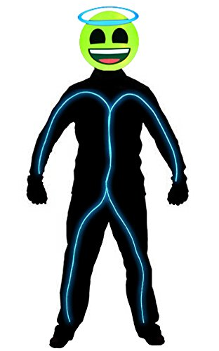 Stickman Halloween Costume (GlowCity Light Up Super Bright Angel Emoji Stick Figure Costume For Parties, Aqua - Small)