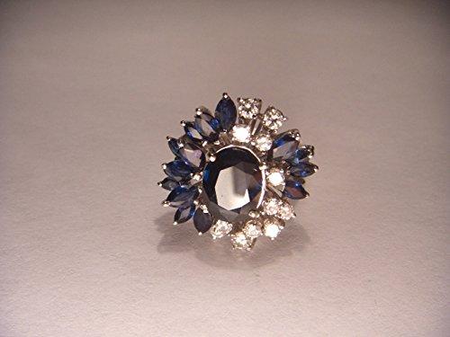 Magnificent Estate 18K White Gold Sapphire Diamond Ring Band (Ring Diamond Estate Sapphire)