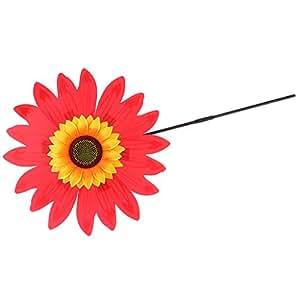 MagiDeal 36cm DIY Sunflower Windmill Wind Rotator Pinwheel Kid Outdoor Playground Toy Garden Lawn Decoration Kits - Red, as described
