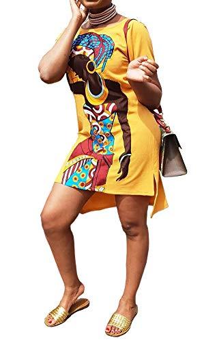 - Summer Dresses for Women 2019 Sexy - Short Sleeve Casual Round Neck Figure Print Girl Printed Knee Length Tee Tunic T Shirt Dress Bodycon Midi Dress Clubwear Yellow, X-Large