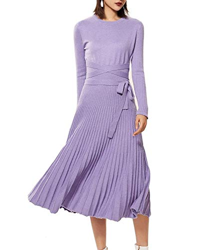 - Women's Winter Dress Sweater Dresses Cashmere Round Neck Belted A-Line Dress with Pleated Big Hem (S, Violet)
