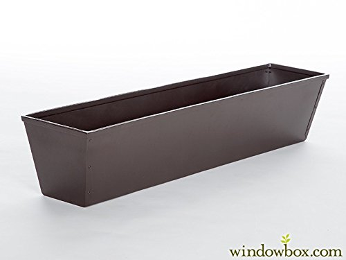 60in. Galvanized Tapered Window Box- Powder Coated Textured Bronze Finish by Windowbox