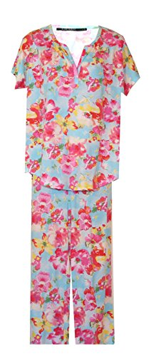- Ralph Lauren Bright Floral Soft Cotton Pajamas PJ's (Large, Aqua with Deep Pinks, Red, Yellow, White Floral)