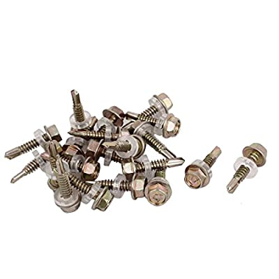 #12 x 1/2-inch Roofing Hex Washer Head Self-Drilling Screws 20pcs
