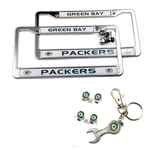 MT-Sports Store Football Team Car Licenses Plate Stainless Steel Frames & 4 Pcs Tire Valve Stem Caps (Green Bay Packers) -
