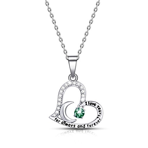 (ivyAnan Jewellery Birthday Gift for Women I Love You Dancing Birthstone Emerald Necklace Jewelry Gift for Women Girls Daughter Wife (May))