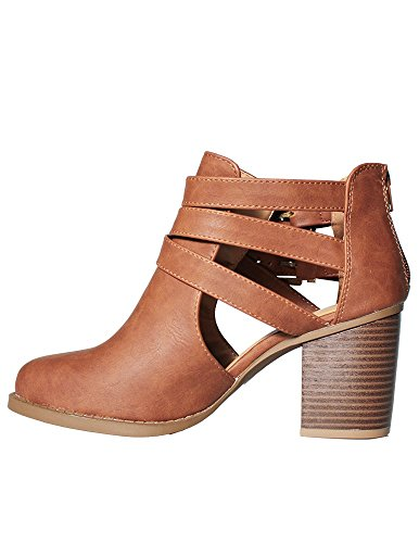 Of Ankle and Fashion Room with Tan Side 2016 New Heel Cut Out Low Design Women's Bootie 4dBq8pwx8t