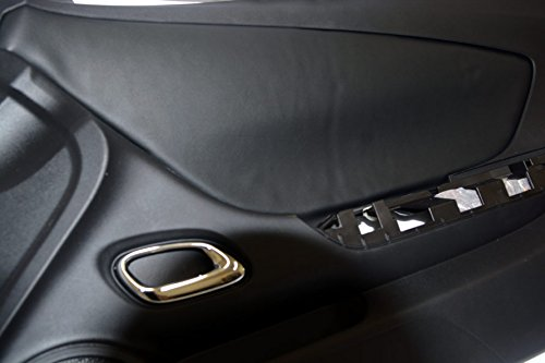 Fits 2010-2015 Chevrolet Camaro Synthetic Black Leather Door Panel Insert Cards . (Skin Only)