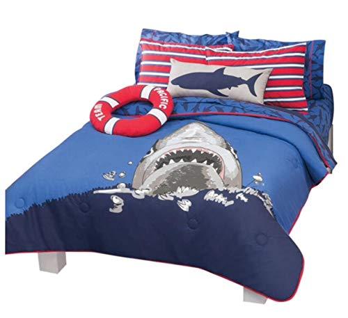 Home Bedding Fancy&Cool Kids Collection Shark Attack Reversible Luxury Comforter Set 100% Guarantee (full / queen)