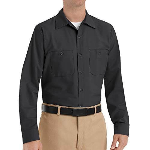 Red Kap Men's Industrial Work Shirt, Regular Fit, Long Sleeve, Black, Large (Mens Work Uniforms)