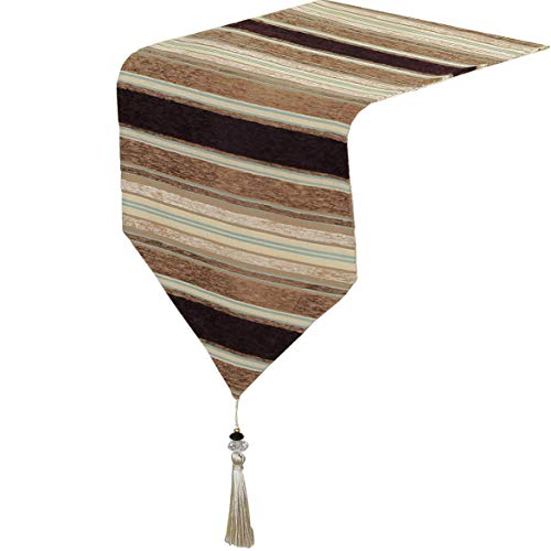 (Yoovi Home Linen Modern Chenille Striped Table Runner with Tassels 13'' W x 82'' L (Brown/Beige))