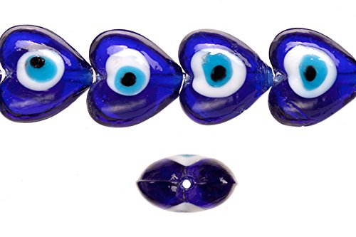 Glass beads, sapphire base evil eye amulet design, 19mm heart shape beads. sold per 18pcs/ 30cm string