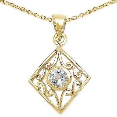 Bijoux Schmidt-Pendentif topaze bleue antique, collier, boucles d'oreilles, or Médaille d'Argent plaqué 10 carats