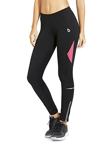 (Baleaf Women's Cycling Running Athletic Thermal Fleece Tights Black Hot Pink Size L)